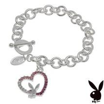 Playboy Bracelet Bunny Open Heart Charm Pink Swarovski Crystals Platinum... - £11.70 GBP