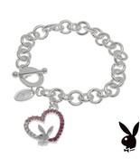 Playboy Bracelet Bunny Open Heart Charm Pink Swarovski Crystals Platinum... - $14.69