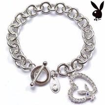 Playboy Bracelet Bunny Open Heart Charm Swarovski Crystals Toggle Clasp ... - £11.70 GBP