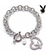 Playboy Bracelet Bunny Open Heart Charm Swarovski Crystals Toggle Clasp ... - $14.69