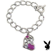 Playboy Bracelet Heart Bunny Charm Pink Enamel Toggle Platinum Plated RA... - $14.69