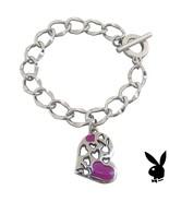Playboy Bracelet Heart Bunny Charm Pink Enamel Toggle Platinum Plated RA... - $14.69