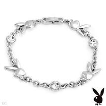 Playboy Bracelet Bunny Charms Swarovski Crystals Silver Plated Chain Lin... - $14.69
