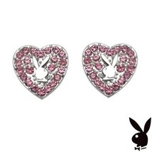 Playboy Earrings Heart Bunny Studs Pink Swarovski Crystals Platinum Plat... - $14.69