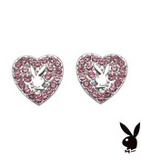 Playboy Earrings Heart Bunny Studs Pink Swarovski Crystals Platinum Plat... - $19.69