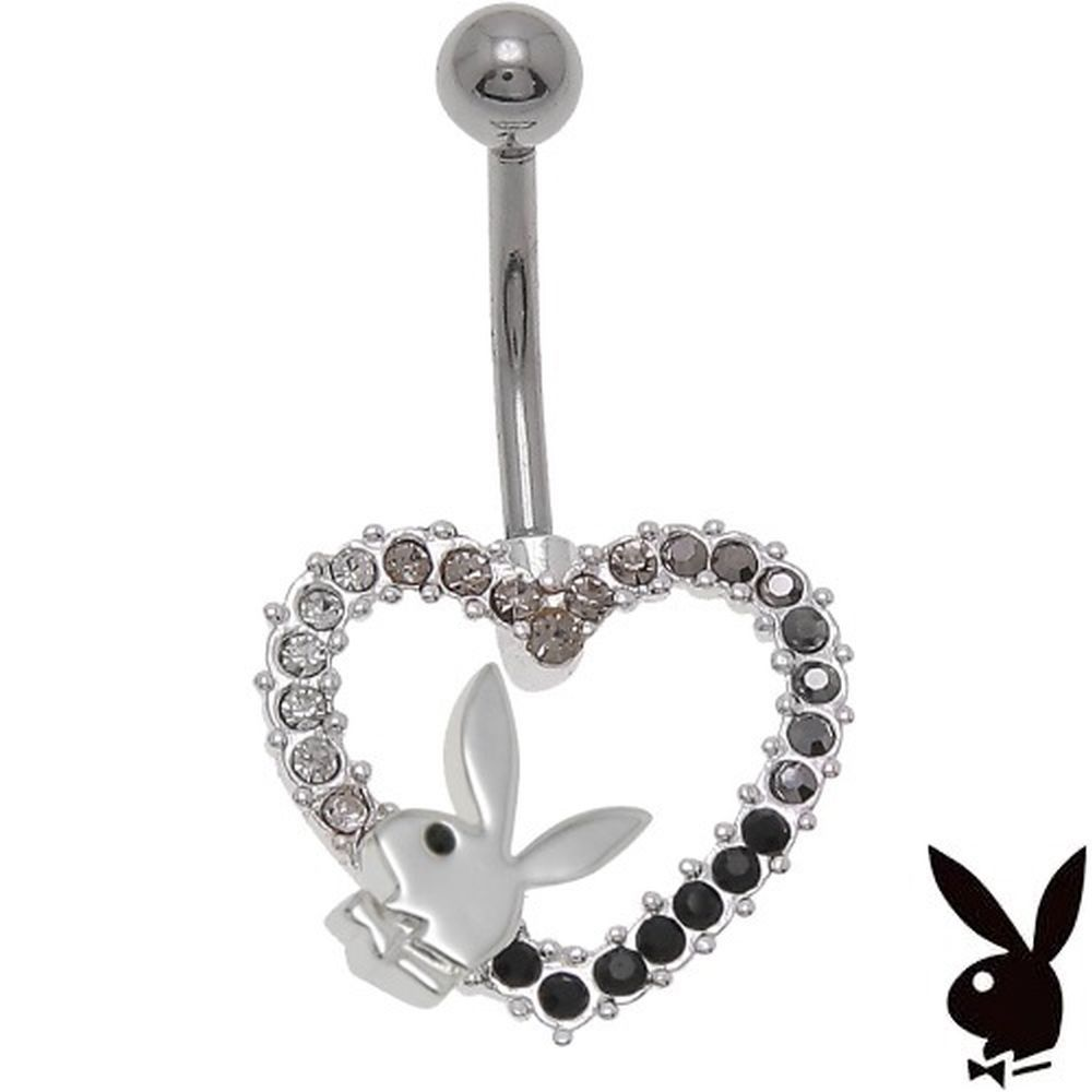 Playboy Belly Ring Heart Bunny Swarovski Crystals Curved Barbell Body Jewelry