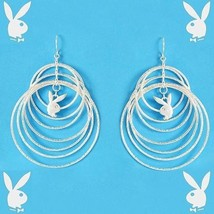 Playboy Earrings Infinity Circles Bunny Logo Charms Dangles Brushed Fini... - $14.69