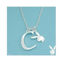 Playboy Necklace Initial Letter C Pendant Bunny Charm Crystals Platinum Plated - $14.70