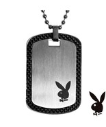 Mens Playboy Necklace Bunny Logo Dog Tag Pendant Stainless Steel License... - $14.69