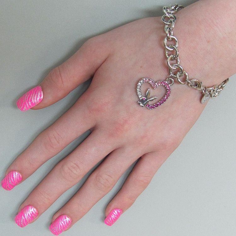 Playboy Bracelet Bunny Open Heart Charm Pink Swarovski Crystals Platinum Plated