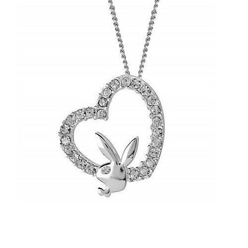 Sterling Silver Playboy Necklace Bunny Heart Pendant Swarovski Crystals HTF RARE