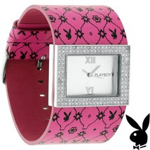 Playboy Watch Bunny Pink Leather Band Swarovski Crystal Stainless Steel ... - $49.69