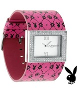 Playboy Watch Bunny Pink Leather Band Swarovski Crystal Stainless Steel ... - $89.69