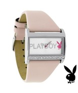 Playboy Watch Bunny Swarovski Crystal Pink Leather Band Stainless Steel ... - $49.69