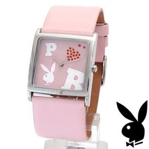 Playboy Watch Bunny Logo Red Swarovski Crystals Heart Pink Leather Band ... - $49.69