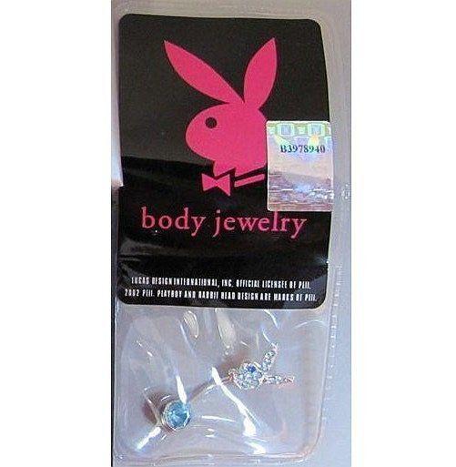 Playboy Belly Ring Bunny Blue Swarovski Crystals Navel Curved Barbell RARE HTF