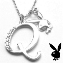 Playboy Necklace Initial Letter Q Pendant Bunny Charm Crystals Platinum Plated - $14.70