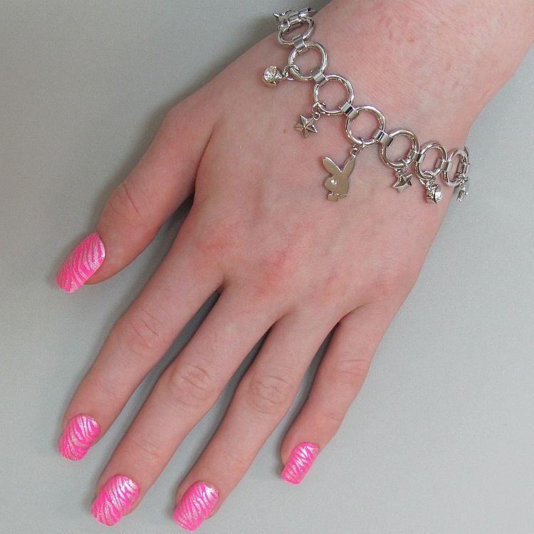 Playboy Bracelet Bunny Charm Stars Swarovski Crystals Toggle Clasp Platinum Pltd