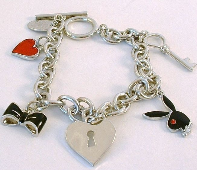 Playboy Charm Bracelet Bunny Heart Lock Key Bow Tie Toggle Platinum Plated RARE