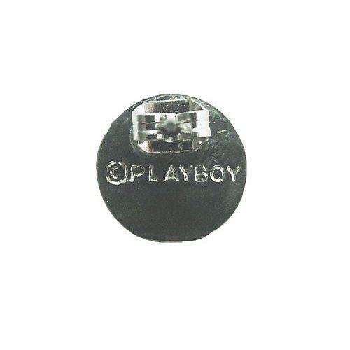 Playboy Earrings Bunny Logo Swarovski Crystals Round Studs Platinum Plated , Box