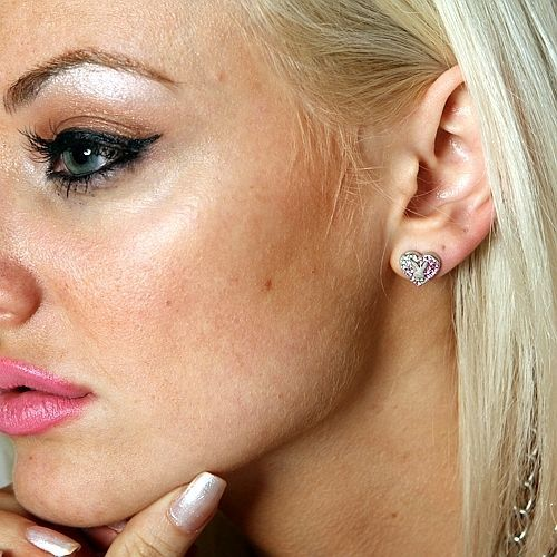 Playboy Earrings Bunny Heart Studs Pink Swarovski Crystals Platinum Plated RARE