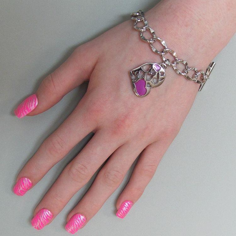 Playboy Bracelet Heart Bunny Charm Pink Enamel Toggle Platinum Plated RARE HTF