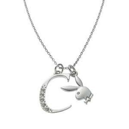Playboy Necklace Initial Letter C Pendant Bunny Charm Crystals Platinum Plated