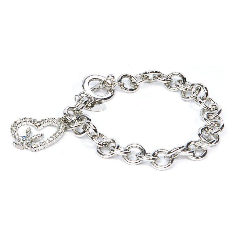 Playboy Bracelet Bunny Open Heart Charm Swarovski Crystals Toggle Clasp RARE HTF