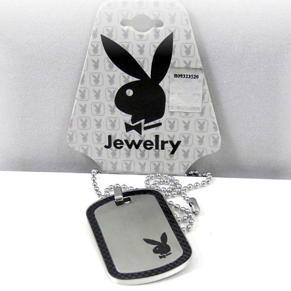 Mens Playboy Necklace Bunny Logo Dog Tag Pendant Stainless Steel Licensed Unisex