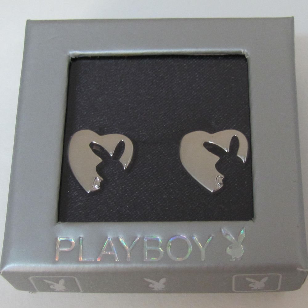 Playboy Earrings Heart Bunny Logo Cut Out Studs Posts Platinum Plated RARE HTF