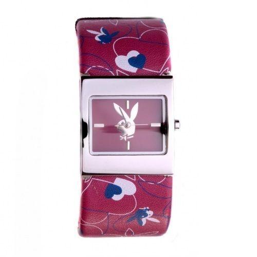 Playboy Watch Bunny Logo Hearts Cuff Bracelet Band Stainless Steel Back RARE HTF