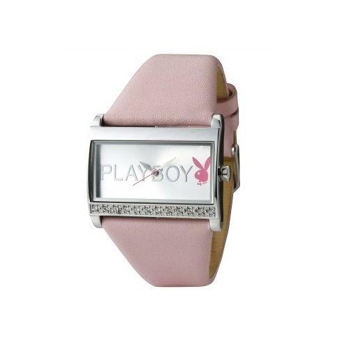 Playboy Watch Bunny Swarovski Crystal Pink Leather Band Stainless Steel Back HTF
