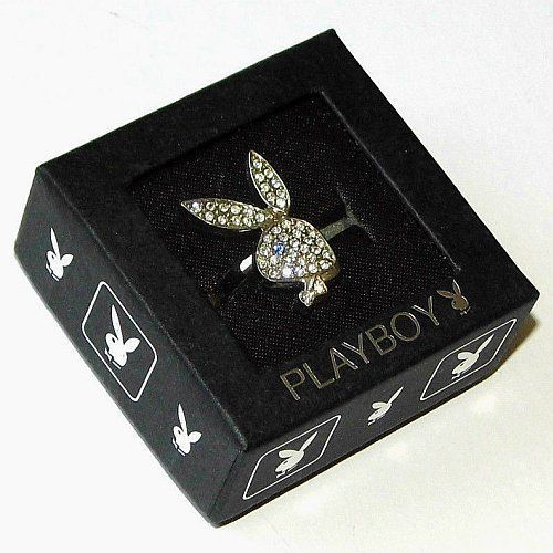 Playboy Ring Bunny Logo Swarovski Crystals Adjustable Size 5.5 - 9 Jewellery HTF