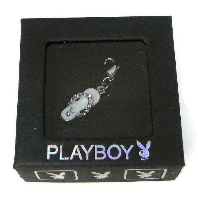 Playboy Charm Bunny 3-D Flip Flop Sandal Swarovski Crystals Clip On Box RARE HTF