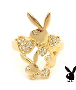 Playboy Ring Hearts Bunny Logo Swarovski Crystals Gold Plated Size 7.5 R... - $14.69