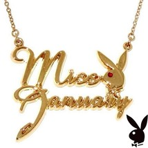 Playboy Necklace MISS JANUARY Bunny Pendant Gold Plated Playmate of the ... - $14.69