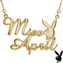 Playboy Necklace MISS APRIL Bunny Logo Pendant Gold Plated Playmate of t... - $14.69