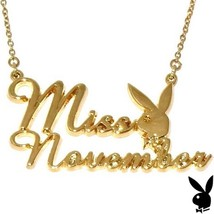 Playboy Necklace MISS NOVEMBER Bunny Pendant Gold Plated Playmate of the... - $14.69