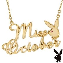 Playboy Necklace MISS OCTOBER Bunny Pendant Gold Plated Playmate of the ... - $14.69