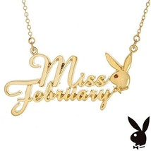 Playboy Necklace MISS FEBRUARY Bunny Pendant Gold Plated Playmate of the... - $14.69
