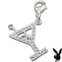 Playboy Charm Bunny Martini Glass Swarovski Crystals Lobster Clasp Clip ... - $12.69