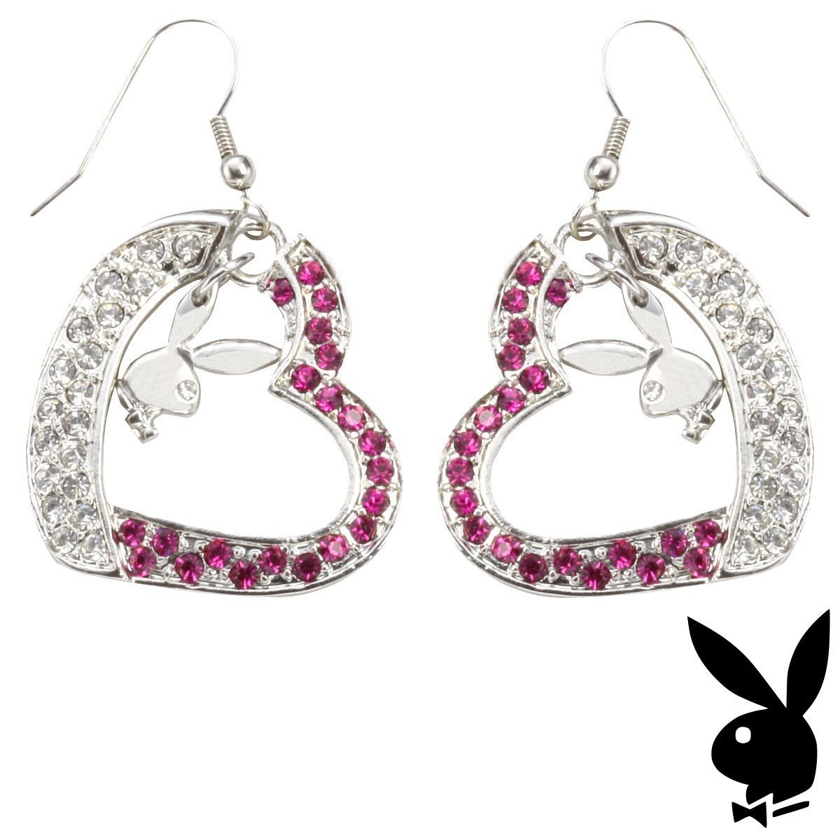 fe17a01e9 S l1600. S l1600. Previous. Playboy Earrings Bunny Heart Charms Dangle Pink Swarovski  Crystals Box RARE HTF