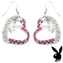 Playboy Earrings Bunny Heart Charms Dangle Pink Swarovski Crystals Box R... - $14.69