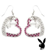 Playboy Earrings Bunny Heart Charms Dangle Pink Swarovski Crystals Box R... - $33.69