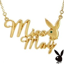 Playboy Necklace MISS MAY Bunny Logo Pendant Gold Plated Playmate of the... - $14.69