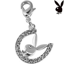 Playboy Charm Horseshoe Bunny Swarovski Crystals Lobster Clasp Clip On R... - $12.69