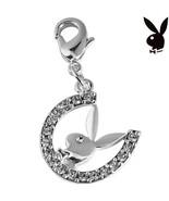 Playboy Charm Horseshoe Bunny Swarovski Crystals Lobster Clasp Clip On R... - $12.69