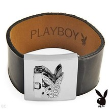 Playboy Bracelet Swarovski Crystals Bunny Black Patent Leather Strap Cuff RARE - $19.69