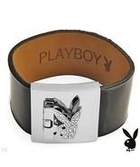 Playboy Bracelet Swarovski Crystals Bunny Black Patent Leather Strap Cuf... - $14.69