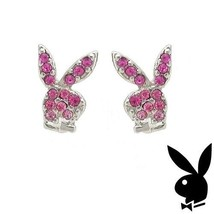 Playboy Earrings Bunny Logo Studs Pink Swarovski Crystals Platinum Plate... - $14.69